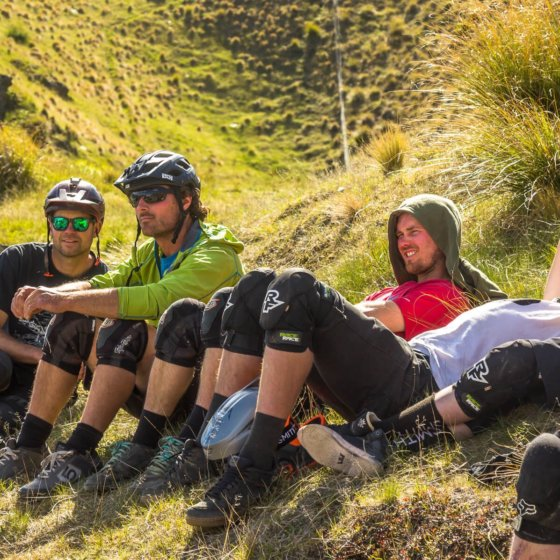 Relaxing after an epic QT mountain bike mission