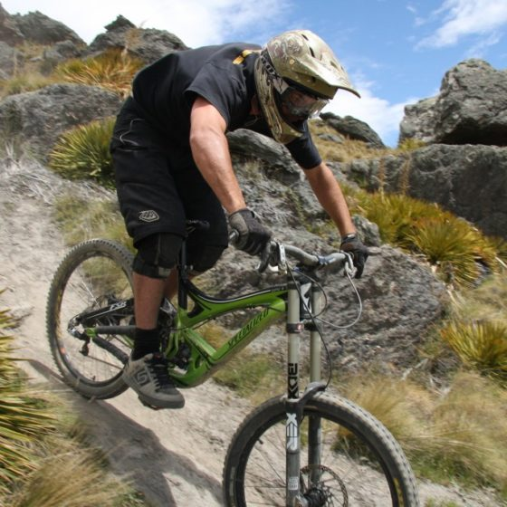 Downhill mountain biking at Dirt Park track, near Queenstown