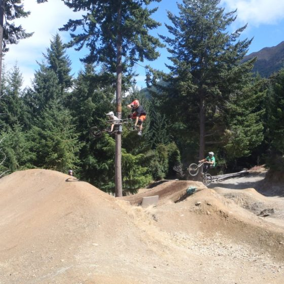 Mountain bikers at Wynyard jump park