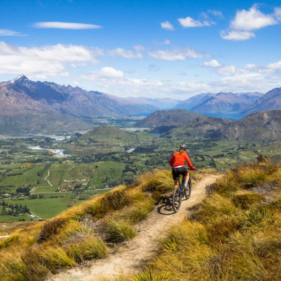 Looking across the Queenstown Basin from Rude Rock Trail, New Zealand