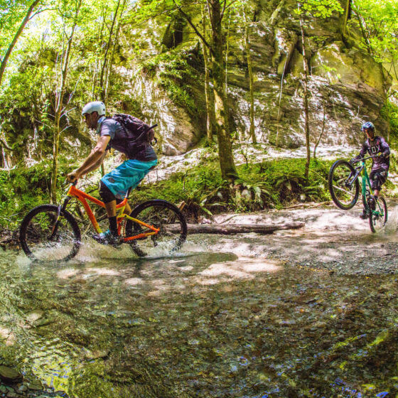 River crossing on the Coronet Peak to Arrowtown MTB Trail